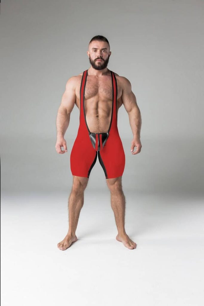 MASKULO Mens Backless Wrestling Singlet with Removable Pouch