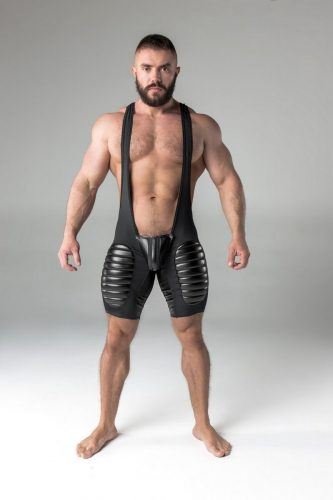 MASKULO Backless Wrestling Singlet with Removable Pouch + Thigh Pads