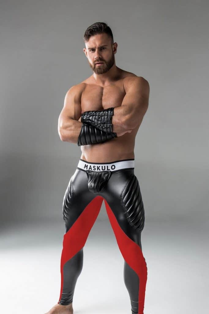 MASKULO Fetish Leggings with Removable Pouch, Thigh Pads + Zip-Up Rear