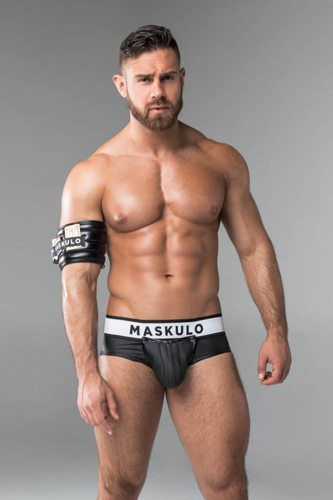 MASKULO Leather Backless Briefs with Removable Enhancing CodPiece Pouch