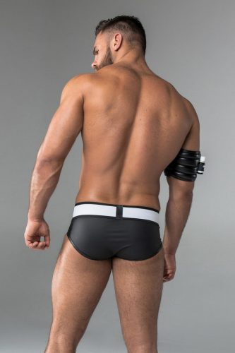 MASKULO Leather Briefs with Removable Enhancing CodPiece Pouch