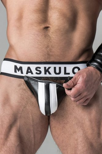 MASKULO Fetish Leather Jockstrap with Removable Cod Piece Pouch
