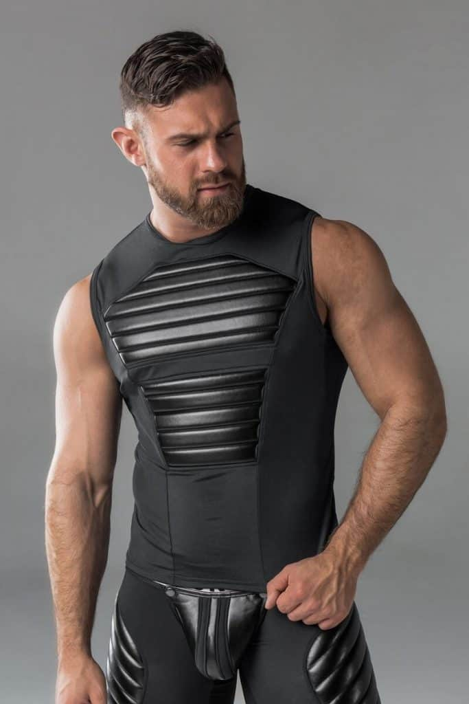 MASKULO Padded Spandex Tank Top with Leather-Look Armour