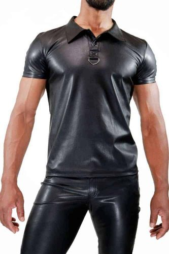 TOF PARIS Leather-Look Polo Shirt-1