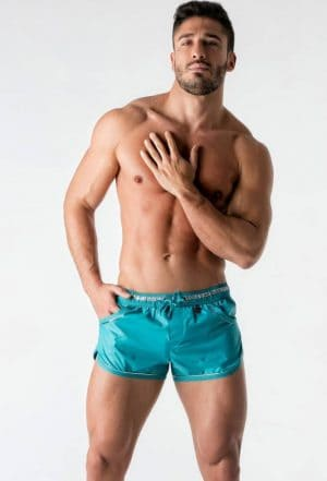 MASKULO BeGuard Club Swim Shorts with Foil Piping Blue