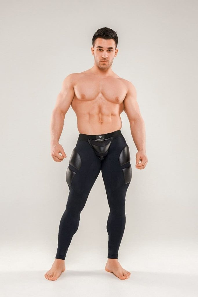 MASKULO Armored Next Fetish Leggings with Removable Pouch, Thigh Pads + Zip Up Rear