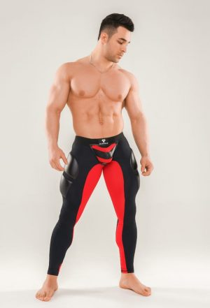 MASKULO Armored Next Fetish Leggings, Red