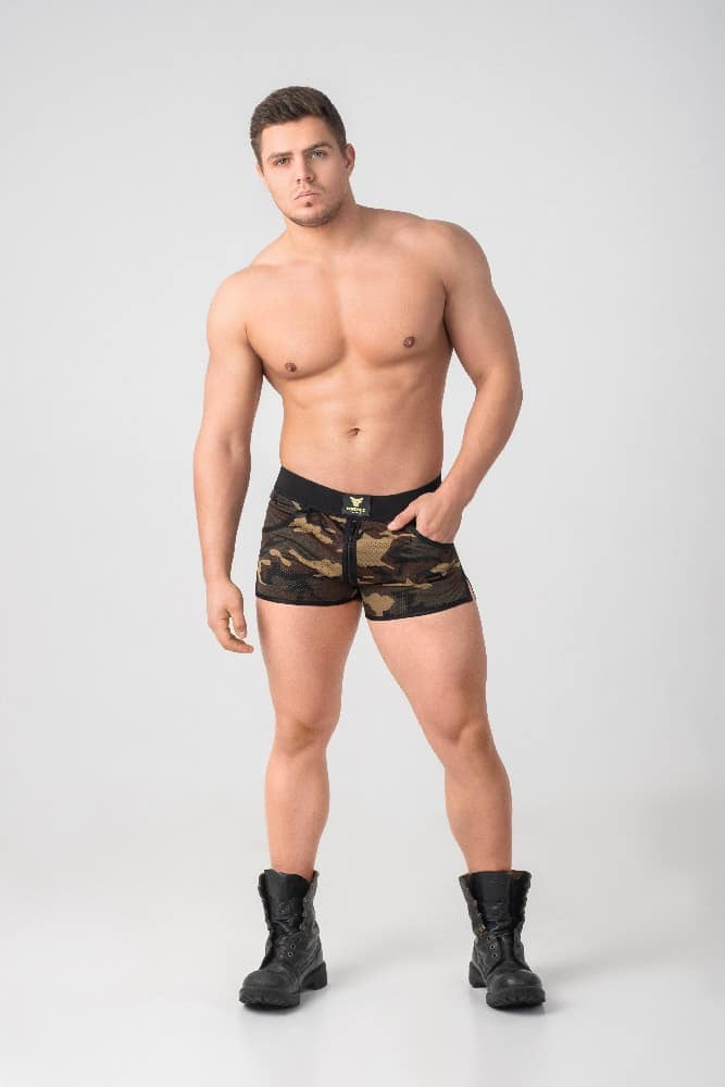 MASKULO Enforce Camouflage Mesh Shorts with Front + Rear Zip