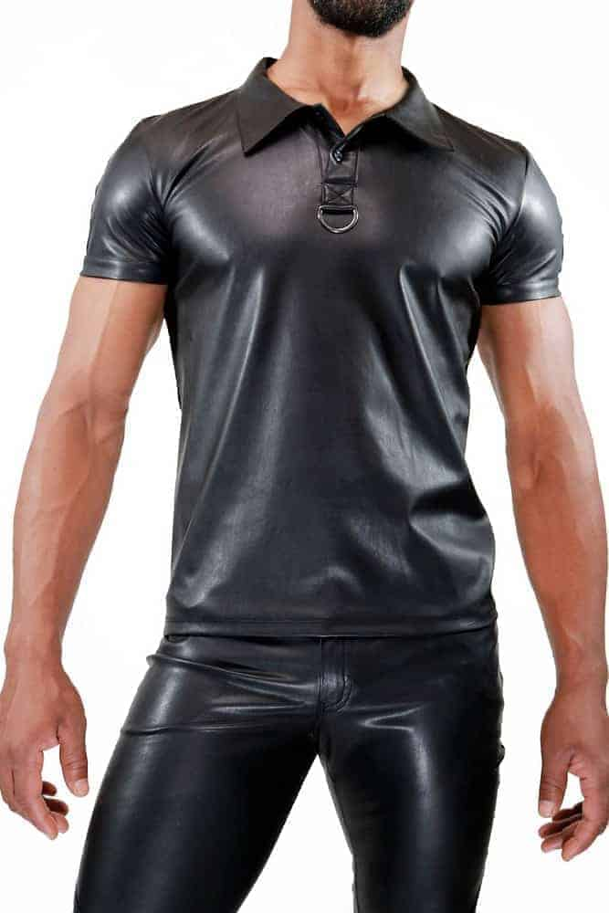 TOF PARIS Leather-Look Mens Polo Shirt