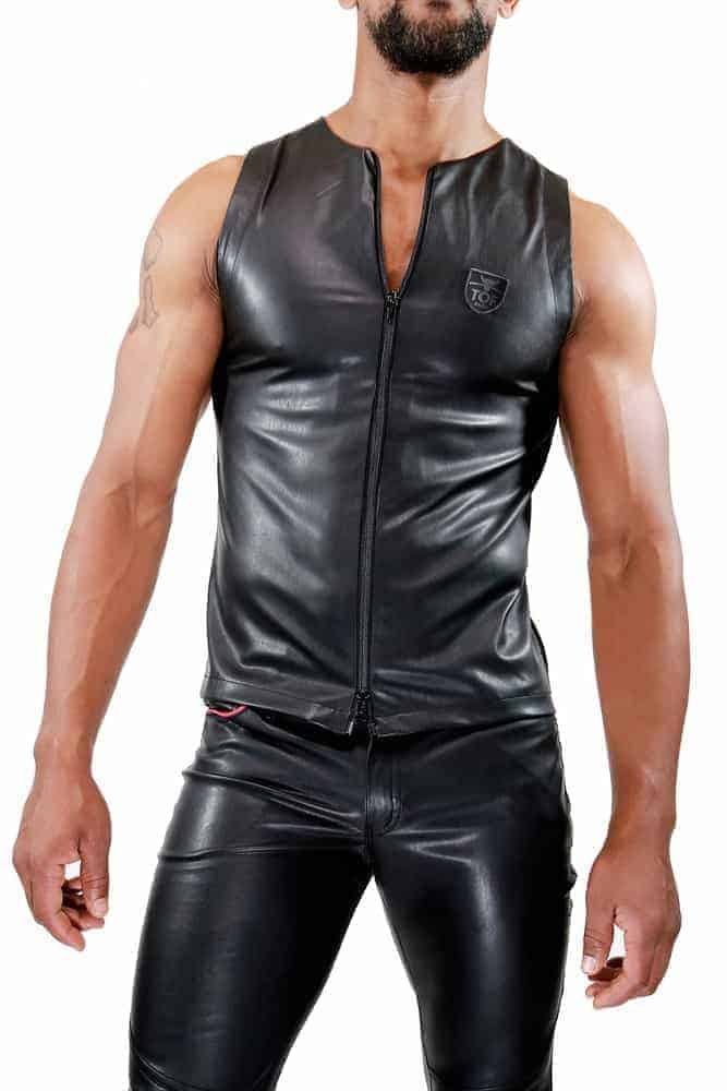 TOF PARIS Mens Leather-Look Zipped Tank Top