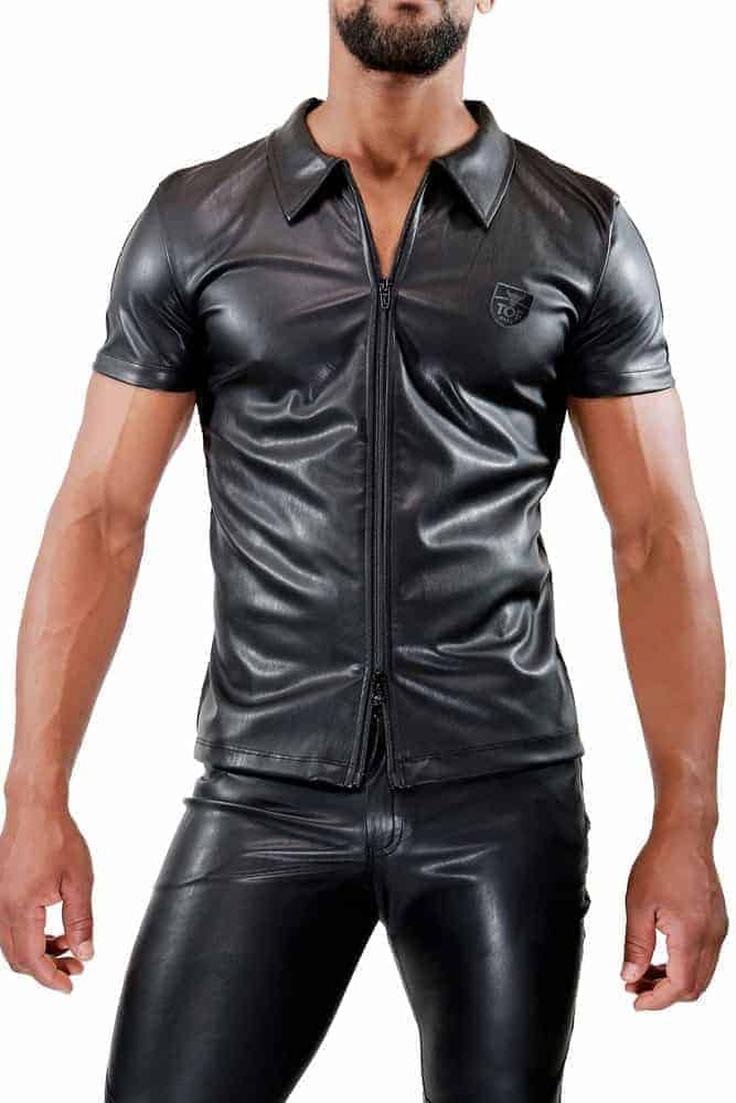 TOF PARIS Mens Leather-Look Zipped Shirt