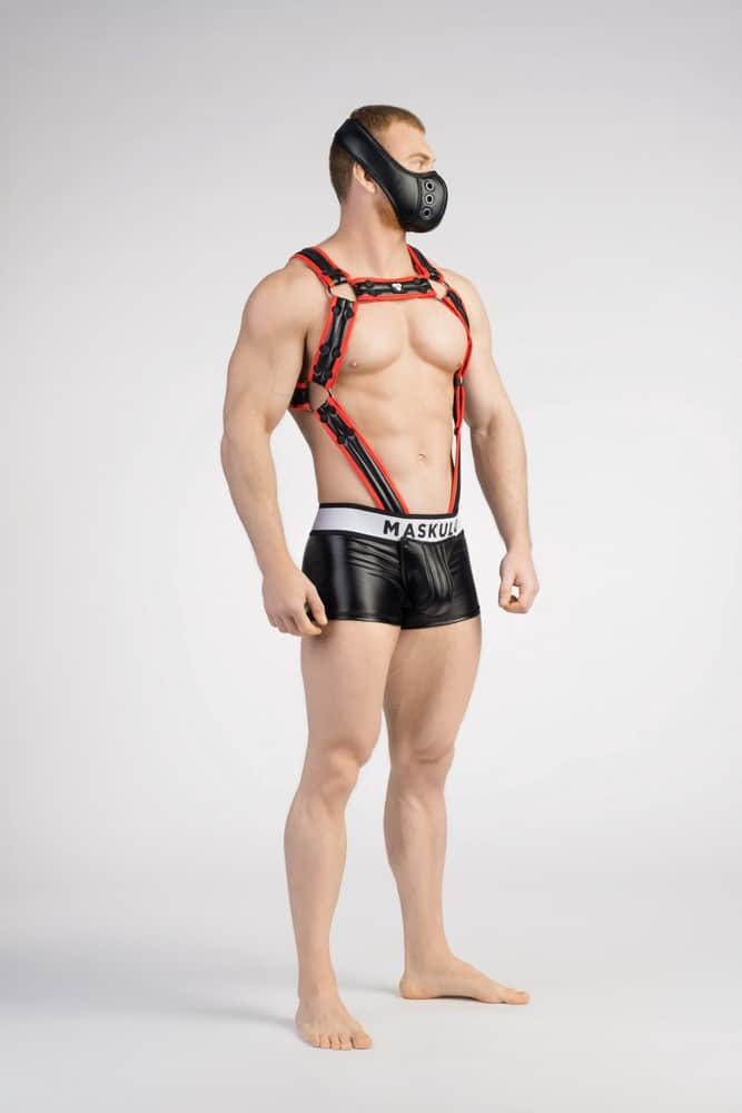 MASKULO Mens Bulldog Body Harness with C-Ring