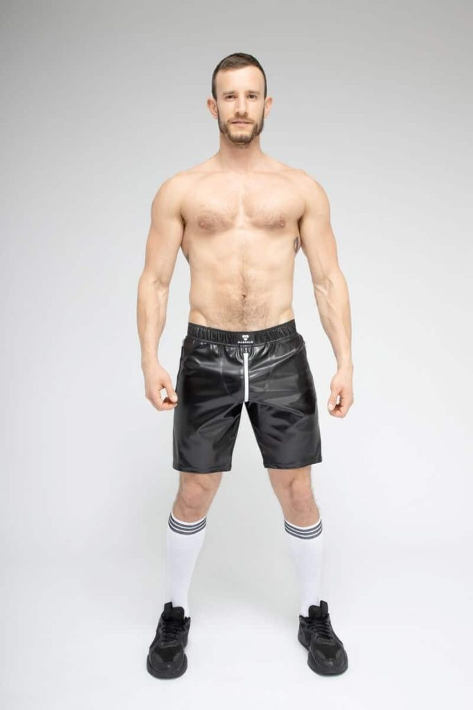 MASKULO SKULLA Leatherette Soccer Short with C-Ring + Full Zip