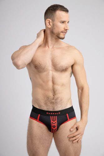 MASKULO Striped Mesh Brief with Push-Up Lifting Pouch