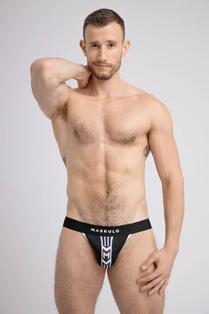MASKULO Striped Mesh Jockstrap with Push-Up Lifting Pouch