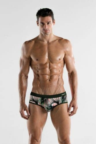 CODE22 Tropical Striped Swim Brief with Padded Pouch