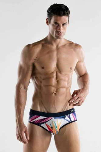 CODE22 Paradise Print Swim Brief with Padded Pouch