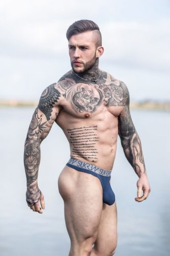 SUKREW Balmoral Mens Navy Thong with Large Pouch